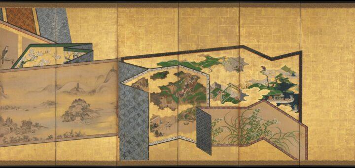 Anonyme, Paravents dans un paravent, XVIIIe s., paire de paravents à six feuilles, paravent de droite, encre, couleurs et or sur papier.